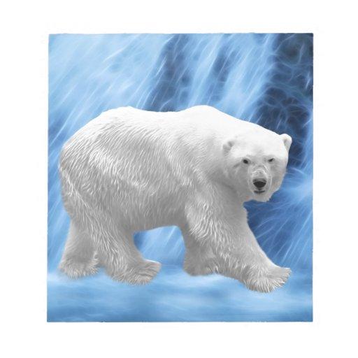 Un oso polar en la cascada congelada blocs