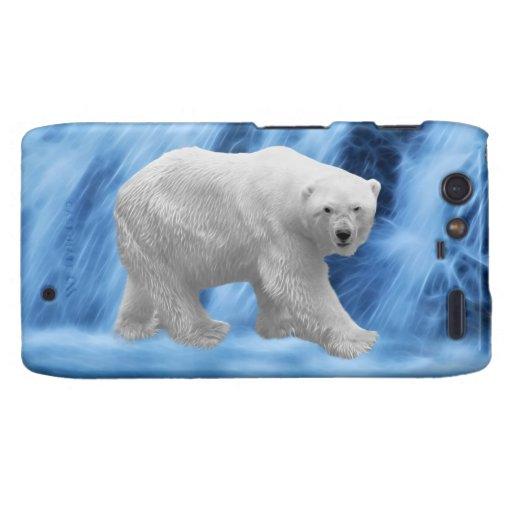 Un oso polar en la cascada congelada funda para motorola droid RAZR
