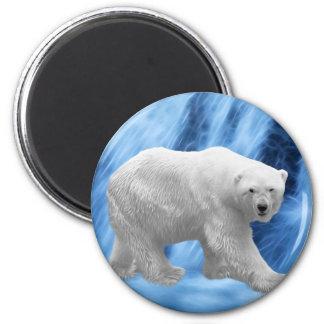 Un oso polar en la cascada congelada imán redondo 5 cm