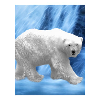 Un oso polar en la cascada congelada membrete