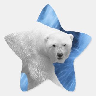 Un oso polar en la cascada congelada pegatina en forma de estrella