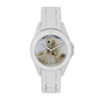 Un oso polar femenino y su cachorro juegan en la n reloj de mano