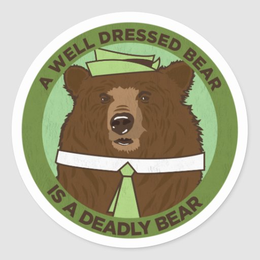 Un oso vestido pozo es un oso mortal pegatina redonda