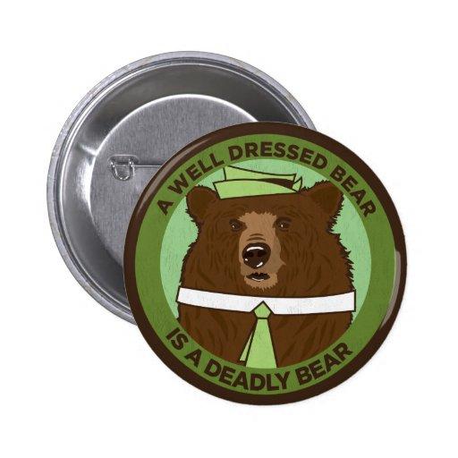 Un oso vestido pozo es un oso mortal pin redondo 5 cm