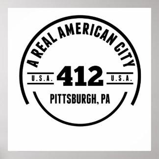 Un PA americano real de Pittsburgh de la ciudad Póster