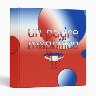 Un Padre Magnífico Chile Flag Colors Pop Art 3 Ring Binder