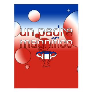 Un Padre Magnífico Chile Flag Colors Pop Art Postcard