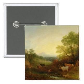 Un paisaje con ganado y figuras por una corriente pin cuadrada 5 cm