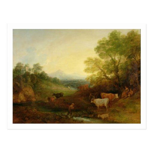 Un paisaje con ganado y figuras por una corriente tarjetas postales
