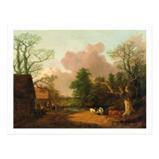 Un paisaje con las figuras, los edificios postales
