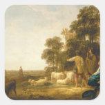 Un paisaje con los pastores y los Shepherdesses Calcomanía Cuadradas Personalizadas