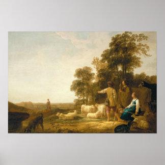 Un paisaje con los pastores y los Shepherdesses Póster