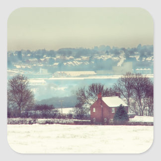 Un paisaje del día Nevado Calcomanía Cuadradas