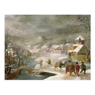 Un paisaje del invierno con los viajeros en una tarjeta postal