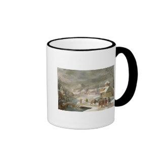 Un paisaje del invierno con los viajeros en una taza de dos colores