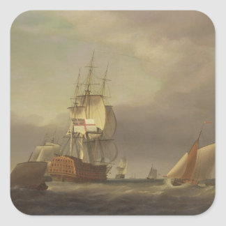 Un paisaje marino con los buques de guerra y el calcomanía cuadradas personalizada