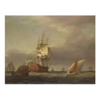 Un paisaje marino con los buques de guerra y el tarjeta postal