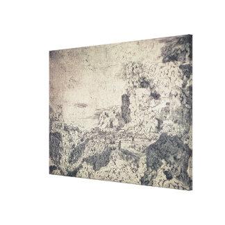 Un paisaje rocoso (grabado) lona estirada galerias