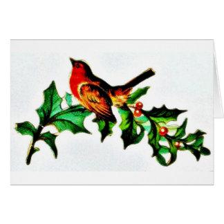 Un pájaro en la rama de árbol de navidad que mira  tarjeton