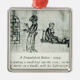 Un panadero fraudulento, 1293 adorno navideño cuadrado de metal