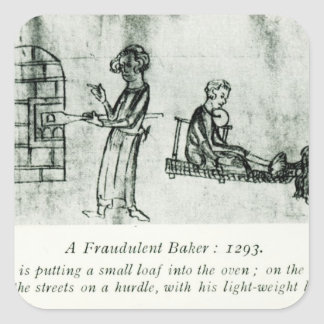 Un panadero fraudulento, 1293 pegatina cuadrada