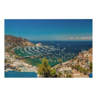 Un panorama de Avalon en la isla de Catalina Impresiones En Madera