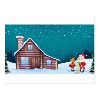 un Papá Noel y un reno Postal