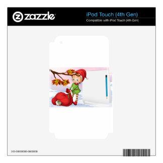 Un papel vacío al lado del duende calcomanía para iPod touch 4G