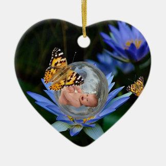 Un paquete del bebé de navidad de la alegría adorno navideño de cerámica en forma de corazón