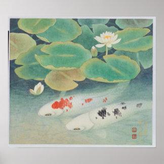 Un par bajo marco de Lotus Poster
