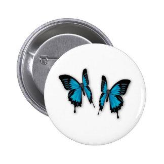 Un par de mariposas azules tropicales pin redondo 5 cm