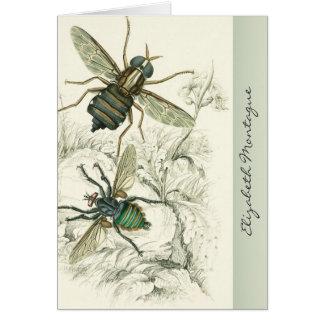 Un par de moscas personalizó tarjetas de nota
