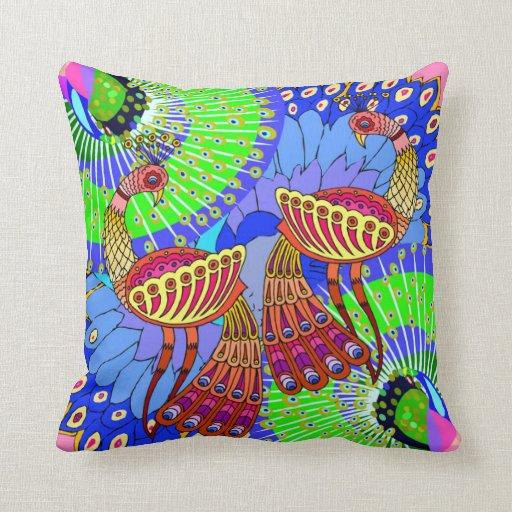 Un par de pavos reales coloridos - almohada 4 de l