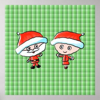 Un par feliz en el navidad Sr y señora Claus Impresiones