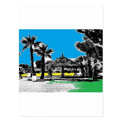 Un paraíso colorido postal