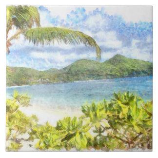 Un paraíso tropical precioso azulejo cuadrado grande