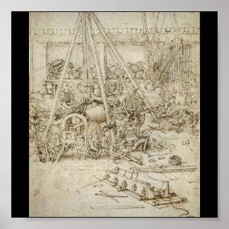 Un parque de la artillería (C. 1487) por Leonardo  Póster