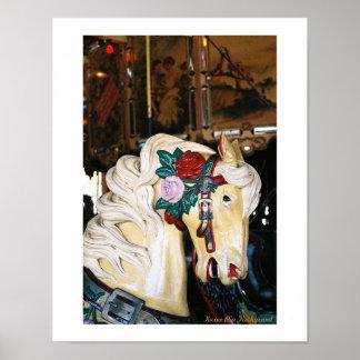 Un parque del balboa del caballo del carrusel póster