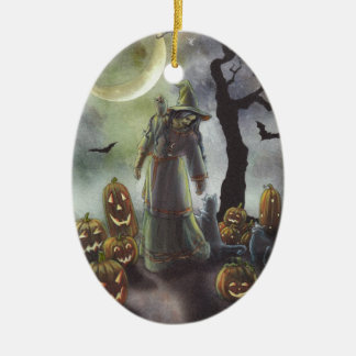 Un paseo brumoso en Halloween Adorno Navideño Ovalado De Cerámica