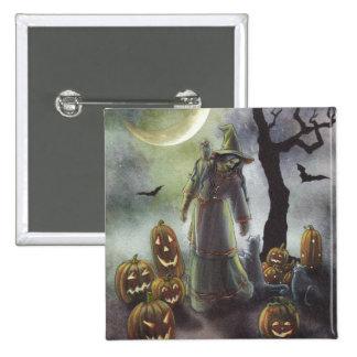 Un paseo brumoso en Halloween Pin Cuadrado