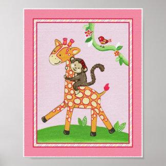 Un paseo de la jirafa, Srta. Monkey Nursery Art Pr Impresiones