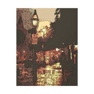 Un paseo de medianoche en el parque que llueve impresión en lona estirada