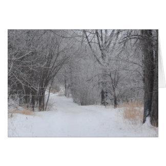 Un paseo del invierno tarjeta de felicitación