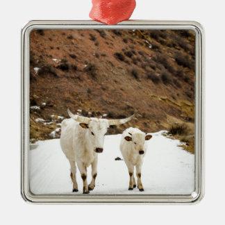 Un paseo en la nieve adorno navideño cuadrado de metal