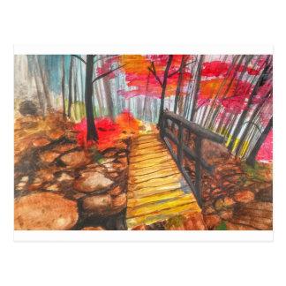 Un paseo en las maderas tarjeta postal