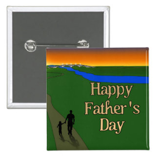 Un paseo reservado del padre y del hijo pin cuadrado