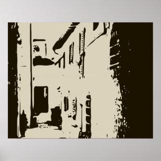 Un pasillo toscano del ladrillo de Roma Posters