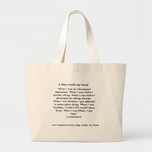 "Un paso dentro de mi cabeza ""mi historia "" bolsa tela grande"