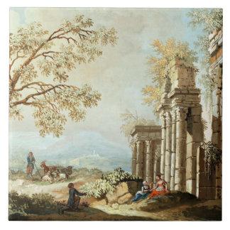 Un pastor con las cabras y otras figuras entre el  azulejos