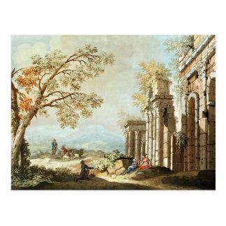Un pastor con las cabras y otras figuras entre el  tarjeta postal